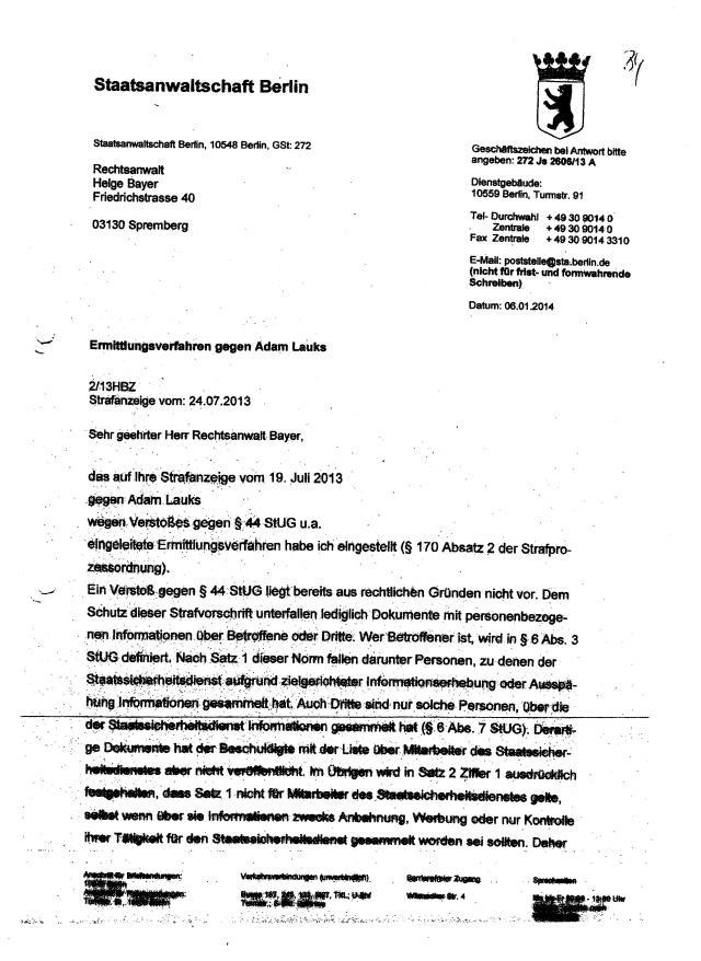 Hat Staatsanwältin Wißmann Koch, wissentlich den ehemaligen STASI-Mann vor Strafe geschützt !??Er gab vor dem Landgericht eine falsche eidesstattliche Versicherung ab!?