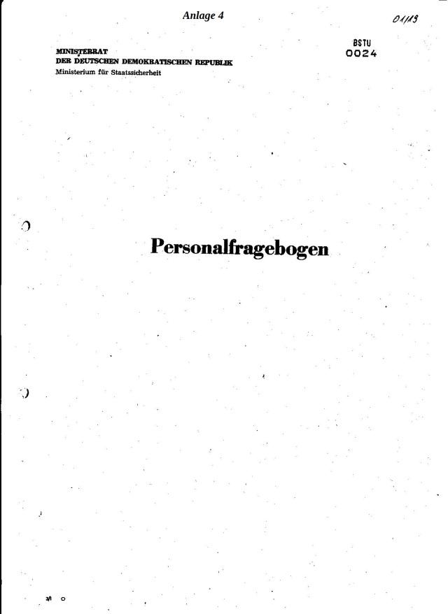 Personalbogen Zwischen Einstellungsvorschlag und Personalbogen unterdrückte BStU - Jahn Behörde 11 Seiten!?
