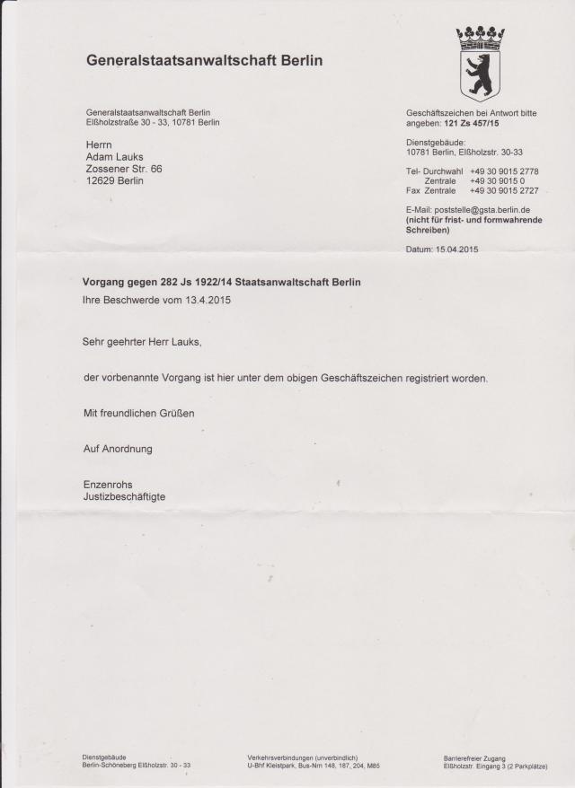 Als ich nach hause kam am 20.4.15 wartete angenehme Überrascung: Roland Jahn steht unter Korruoptionsverdacht...