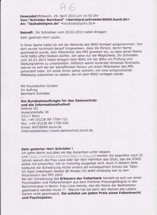 Email der Bundesbeauftragten für Datenschutz und Informationsfreiheit an das Folteropfer der STASI Adam Lauks