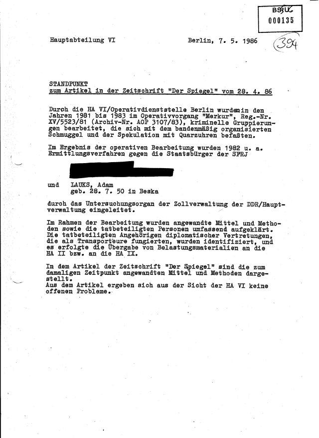 Jedenfalls ist DIESE AKTE Anhaltspunkt/ Beweis über die  Koordinierung und Absprachen   die vor der Veröffentlichung des Beitrages von  Ulrich Schwarz im April 1986 unter dem Titel: DAS GELD IM VORDERRAD...wo es eigentlich um das größte Versagen des MfS ging bei der Wirtschaftssubwersion gegen  DDR-Aussenhandel und den Anschlag auf das DDR-Finanzsystem 1979 - 1983.