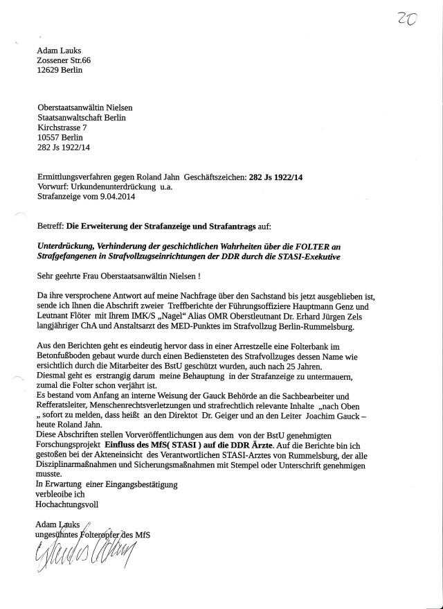 Darin liegen womöglich die Gründe  für  die Rechtsbeugung durch Einstellung des Ermittlungsverfahrens 282 Js 1922/14 gegen Roland Jahn wegen Urkundenunterdrückung in mehreren Fällen!?? Die Unterdrückung der Akte mit Beweisen und Anhaltspunkten zu FOLTER in Frauengefängnis Berlin Köpenick begeht Gauck JOachim als erster spätestens 1991....