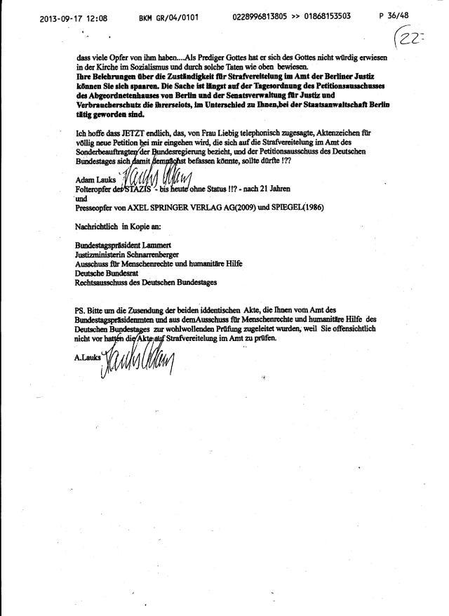 Schweigen der Schafe und Schweigen der Lämmer im Deutschen Bundestag und seinen Ausschüssen !? Ehre und Dank gebührt dem Bundestagspräsidenten Prof. Dr. Lammert und dem Ausschuss f. Menschenrechte, die ihr Fahneneid als einzige nicht verletzt hatten in dieser Sache.