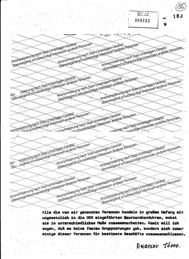 Alle die von mir genannten Personen handeln in großem Umfang mit ungesetzlich in die DDR eingeführten Quarzarmbanduhren, wobei soe in unterschiedlichemMaße zusammenarbeiten. Da,mit will ich sagen, daß es keine festen Gruppierungen gab, sondermn sich immer einige dieser Personen für bestimmte Geschäfte zusammenschlossen.