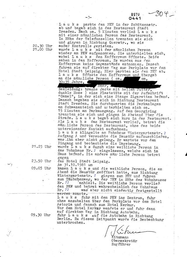 Von 21.25 - bis 09.05 Uhr nächtigte Lauks mit Frl. Ute S. bei der Familie Kade... das scheint das zweite Verbrechen gewesen zu sein das