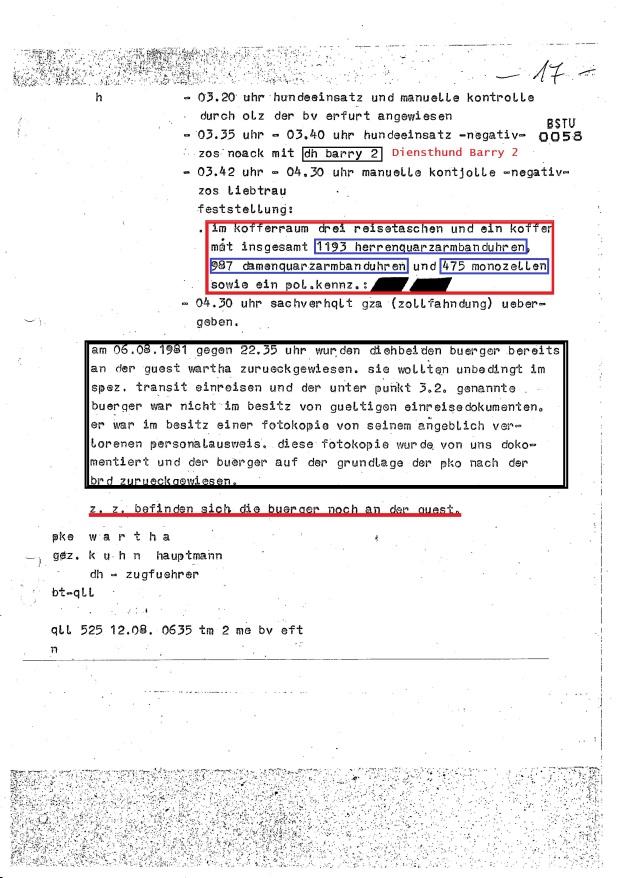 Der eine Do0fe war 20 und der andere 17 Jahre alt... sie wollten /sollten für die Schleusung der Quarzuhren in die DDR 1.500 DM schnell verdienen....