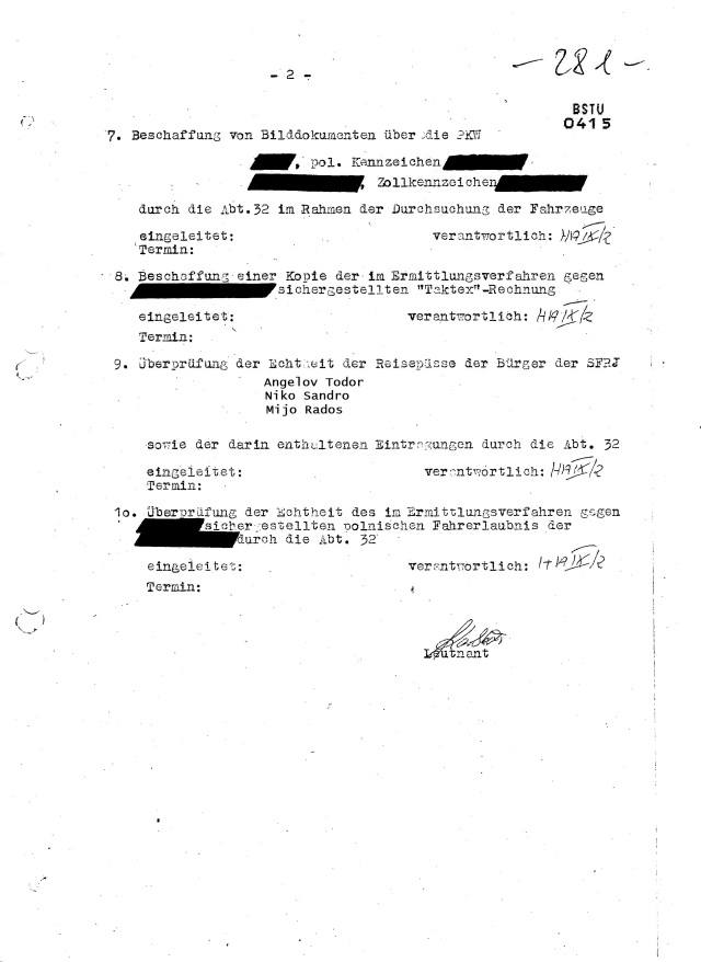 9. Überprüfung der Echtheit der Reisepässe der Bürger der SFRJ: Angelov, Rados, Sandro eingeleitet.