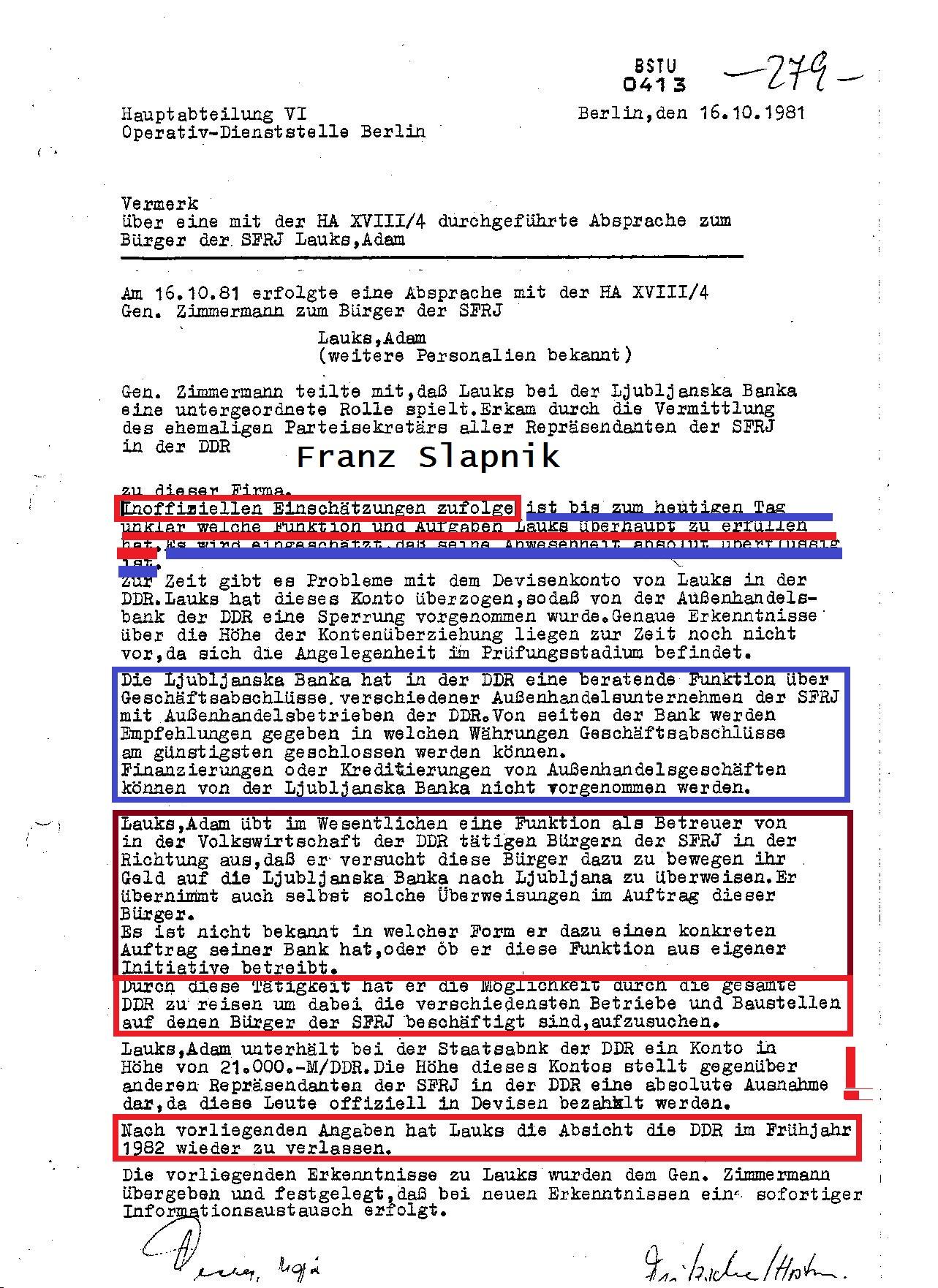 STASI verschleierte die Korruption im Ministerium für Finanzen der DDR durch den Direktor des JUGOBIROS Milivoje Stekovic zu Gunsten von den Repräsentanten jugoslawischer Firmen in dwer DDR.