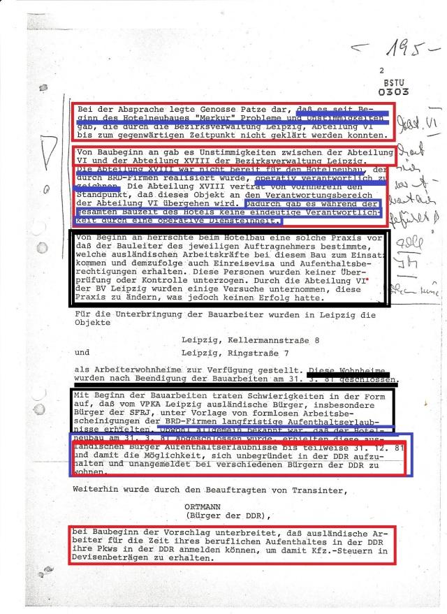 """Bei der Absprache legte genosse Patze dar, daß es seit Beginn des Hotelneubaus """"Merkur"""" Probleme und Unstimmigkeiten gab, die durch die Bezirksverwaltung Leipzig, Abteilung VI bis zum gegenwärtigen Zeitpunkt nicht geklärt werden konnten."""