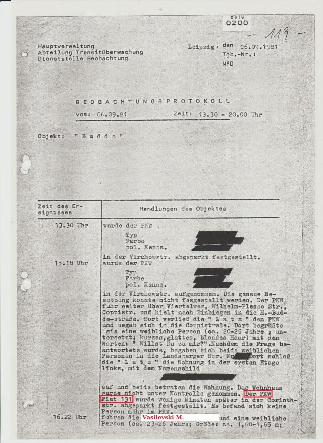 Es gibt auch keine Anzeichen seit wann Vasilevski und seine Frau unter Beobachtung gestellt wurden. 06.09.1981 ist vermutlich Herbstmesse in Leipzig und hier sieht man WOMIT sich die ASSIS von der Hauptabteilung TÜ Leipzig vertrieben hatten.
