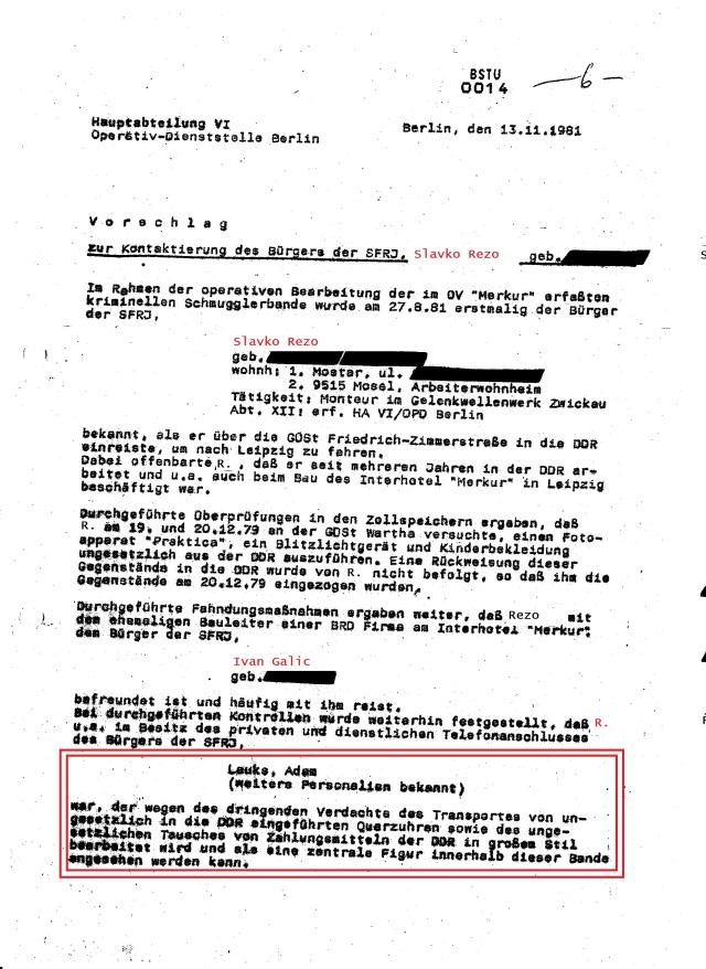 V o r s c h l a g zur Kontaktierung des Bürgers der SFRJ Slavko Rezo Im Rahmen der operativen Bearbeitung der im OV