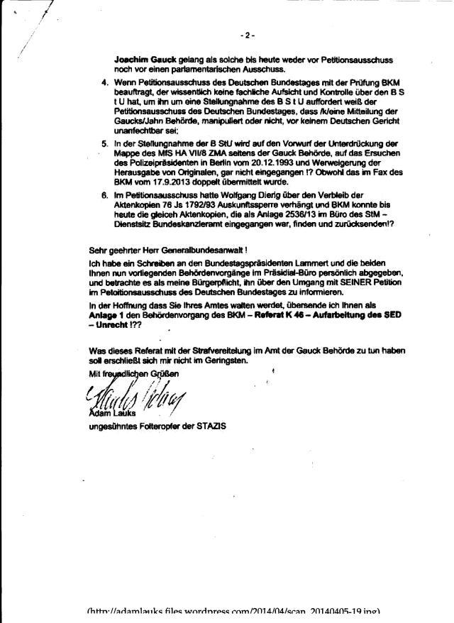 Generalbundesanwalt Harald Runge 04.04.2014- Walten Sie ihres Amtews ensprechend Ihnem Amtseid !