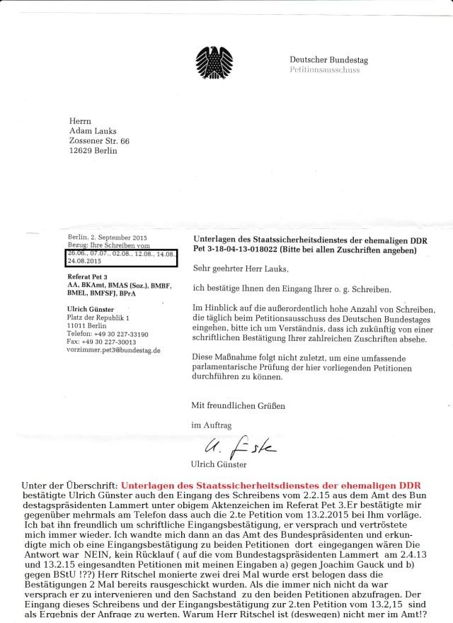 Urkunden-/Petitionunterdrückung  im Verzug