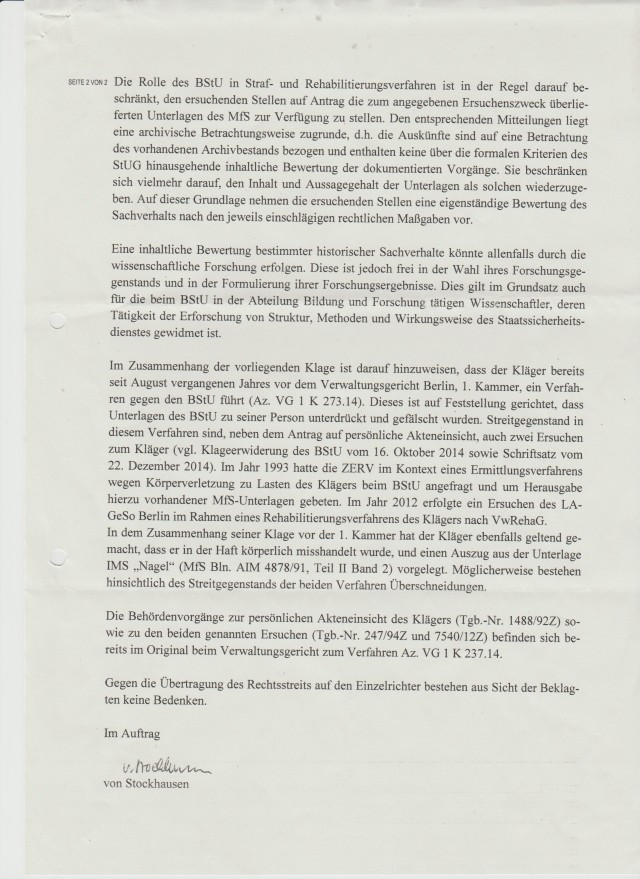 Gauck/Jahn Behörde unterdrücken bis heute Beweise für Folter und verhindern die Aufklärung der Folterungen in der StVE und StVA Berlin Rummelsburg !??