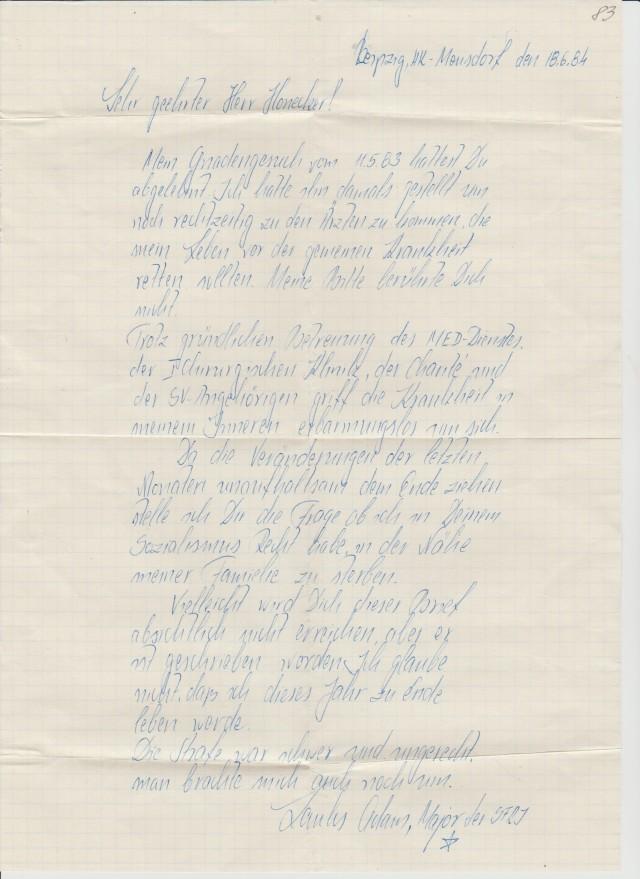 Schreiben an den Erich Honecker - wurde vom Erzieher Oberleutnant Meyer beanstandet