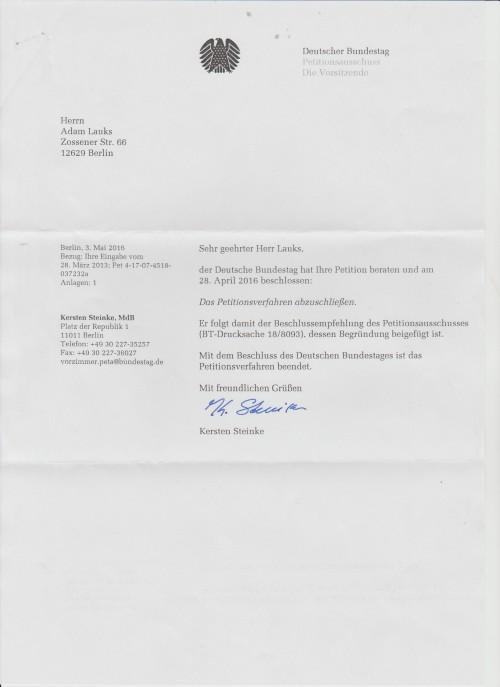Kersten Steinke gauckelt der Regierung bearbeitung einer nicht existierenden Petution im Referat Pet4 : Pet-4-17-07-4518- 037232a