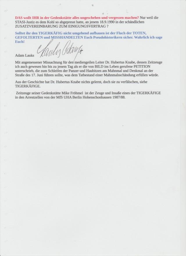 GESCHICHTDFÄLSCHUNG wurde am 18.9.1990 durch die STASI Generele erpresst