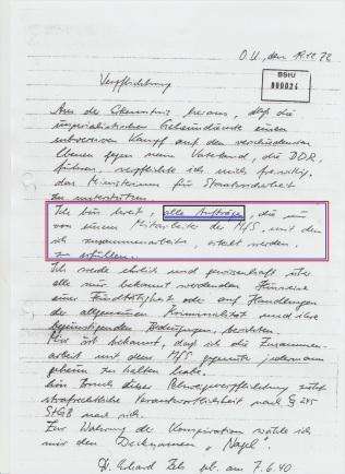 """Seit dem 1.12.1982 Sorgte ER für meine """"lückenlose medizinische Betreuung nach gegebenen Befehlen und Weisungen des MfS"""" und der Lautete Liquidierung!"""