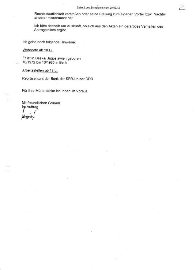 Ersuchen des LAGeSo um die Zuarbeit zur juristischen Aufarbeitung des DDR Unrechts vom 20.02.2012