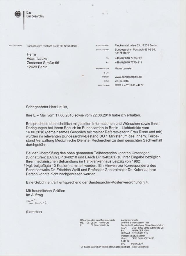 Auf meine Anfragen vom 17. und 22.06.16 erhielt ich in kürzester Zeit die Antwort mit den gesuchten Akten aus dem Jahte 1982.