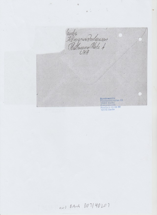Rückseite des Briefes