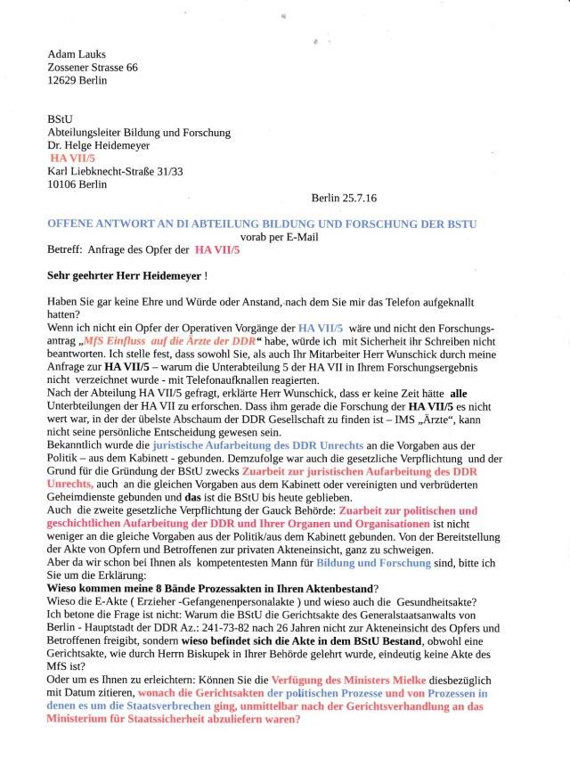 HA VII/ 5 soll nach Dr. Heidemeyer 1984 aufgelöst worden sein! Entweder er hat keine Ahnung oder muss lügend die Operative Arbeit der HA/5 verharmlosend DECKEN !??