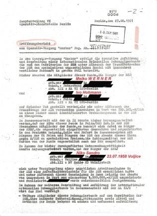 """Eröffnungsbericht zum Operativ Vorgang """"Merkur"""" vom 27.08.81 des Hauptmann Fritzsche"""
