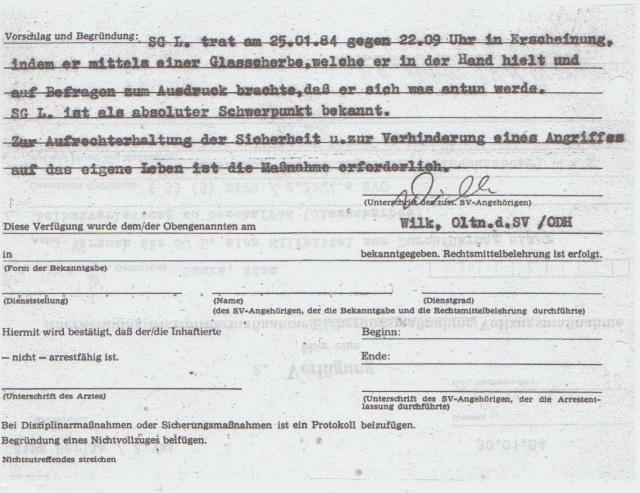 Rückseite der Verfügung über die Folter  im März 1984