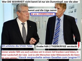 Zum Sonderbeauftragten wurde Gauck von der STASI auserkoren; Dr Hubertus Knabe wurde sein2. bester Lehrling, nach dem Dr. Hans-Jörg Geiger