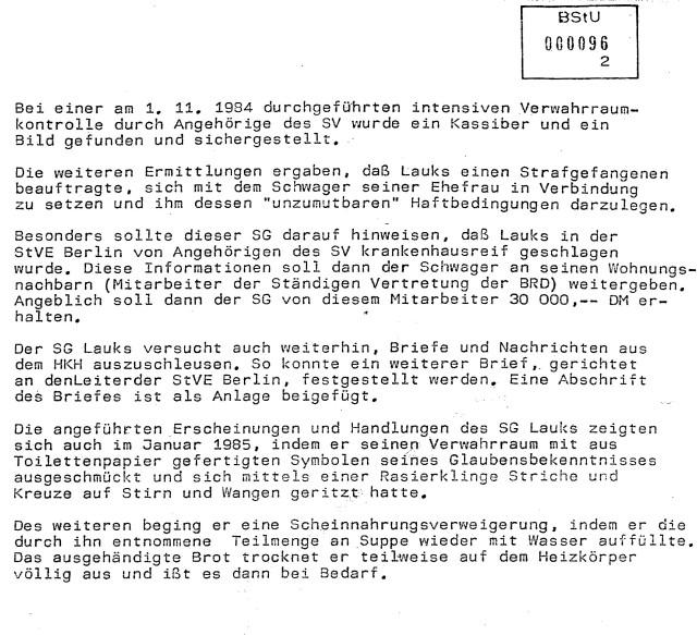 Adam Lauks contra STASI 1982-1985