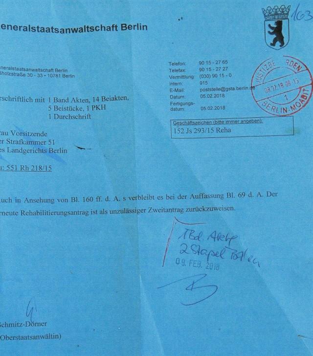 Empfehlung  der Oberstaatsanwältin Schmitz - Dörner  GenStA Berlin