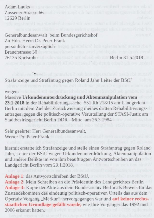 Strafantrag gegen Roland Jahn beim Generalbundesanwalt Dr Peter Frank