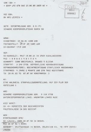 Die Kopie des Origials des Atesegmetes der Ate MfS HAVII/8 577/85 die die BStU versehetlich a das VG illegal achgeschobe hatte, ohe das darüber eie Vermere i die Ate eigetrage wurde?!?