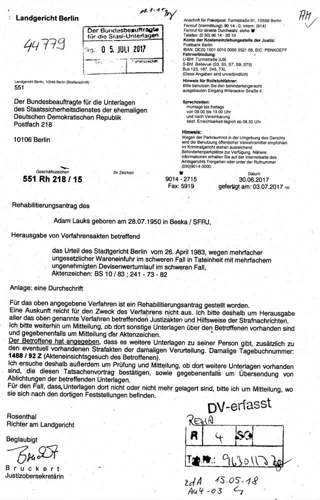 Erste  Aktenanforderung der Akte  A. Lauks  aus dem BV 1488/92Z