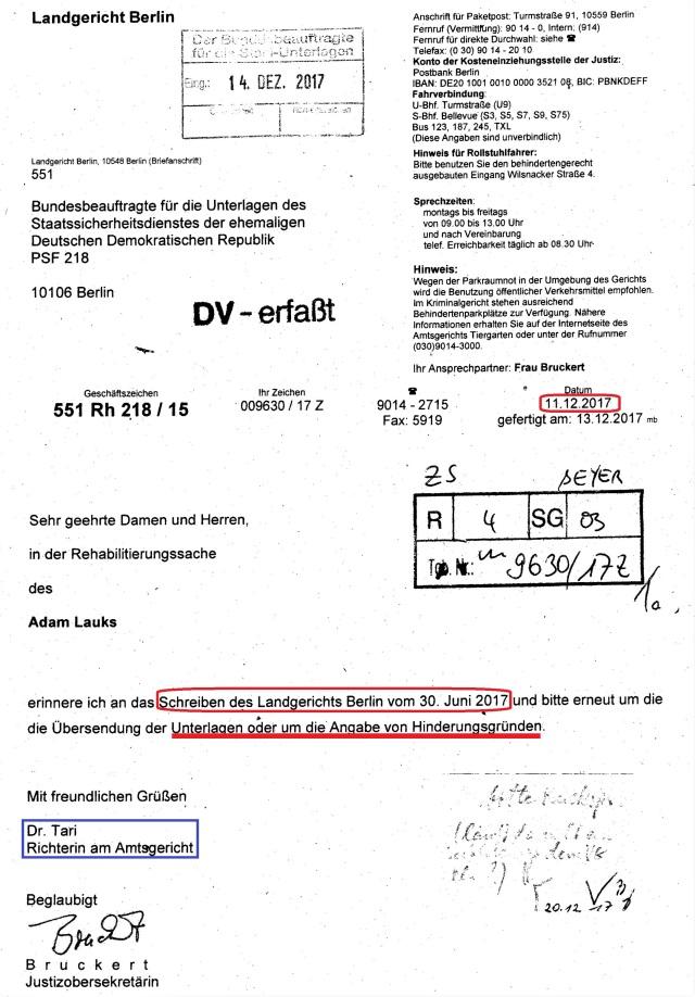 Monierung des Landgerichtes Berlin vom 11.12.2017