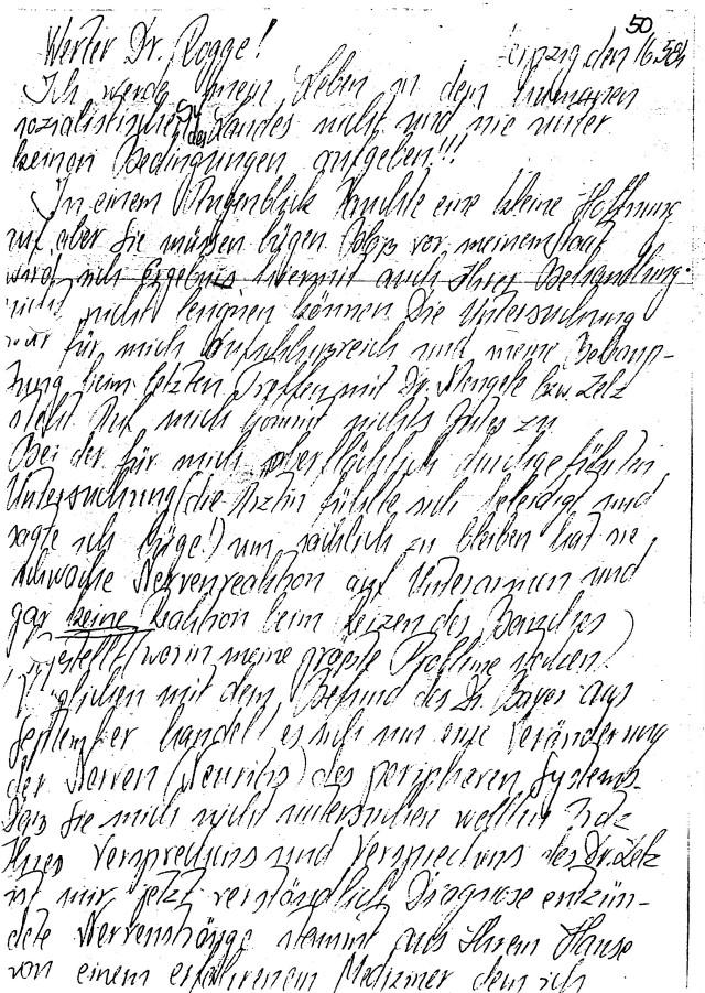Schreiben an Dr. Mengele von HKH Leipzig Meusdorf - Forensik
