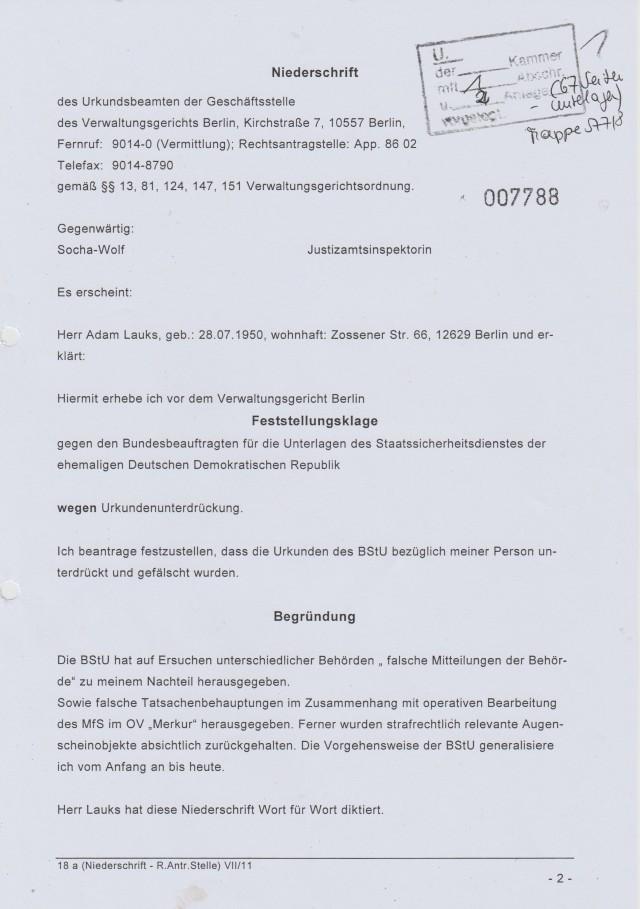 Feststellungsklage gegen Roland Janh -BRD