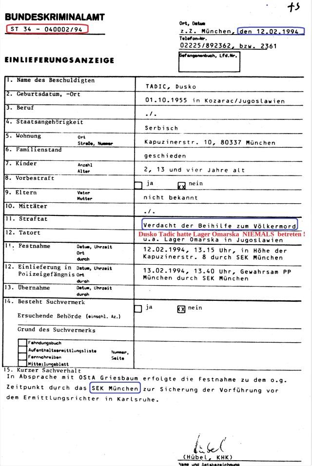 Einlieferungfsanzeige T A S I C , Dusko 12.02 94