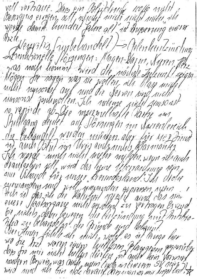 Schreiben an Dr. Mengele von HKH Leipzig Meusdorf - Forensik 16.5.84