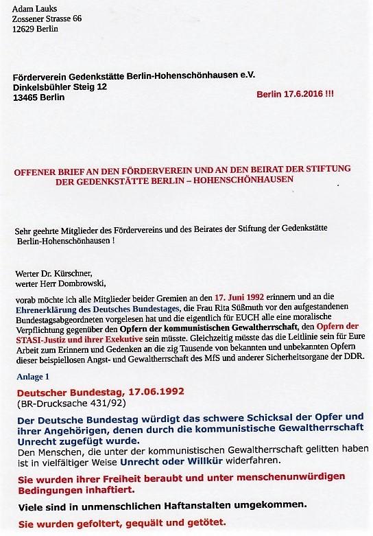 An den Förderverein HSH 17.6.16