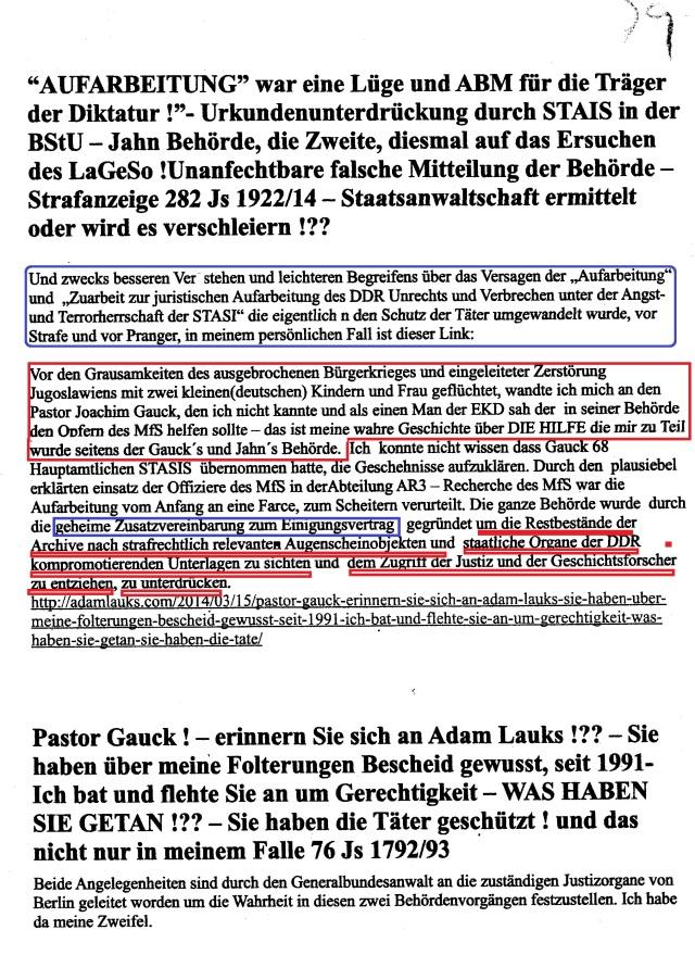 Pastor Gauck ! erinnern Sie sich an Adam Lauks!??